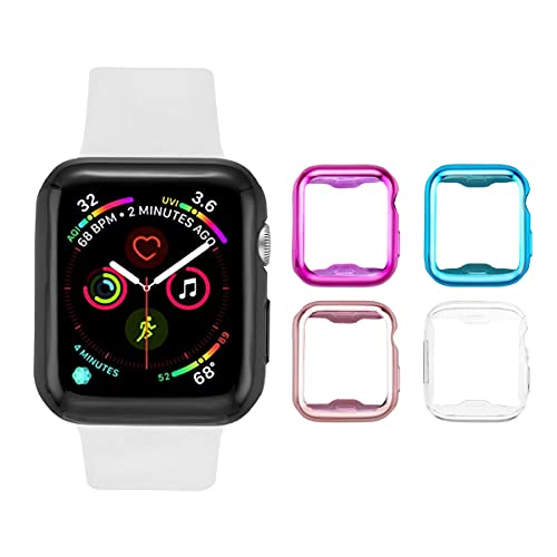 Tranesca Pack de 4 fundas para Apple Watch de 44 mm con protector de pantalla de TPU ultrafino integrado, compatible con Apple Watch Series 4/5/6 y Apple Watch SE, transparente, rosa, azul y morado