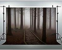HD 7x5ftの森の背景の霧の冬の森の写真ブースYouTube背景 541