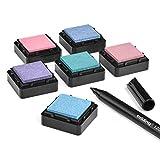 KATINGA Stempelkissen (6er Set) Pastell mit Stift für Fingerabdrücke, zum Basteln und zum kreativen Gestalten (6er Pastell)