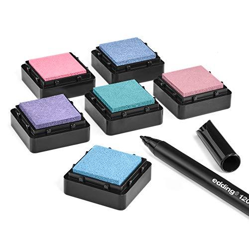 KATINGA Stempelkissen (6er Set) mit Stift für Fingerabdrücke, zum Basteln und zum kreativen Gestalten (6er PASTELL)