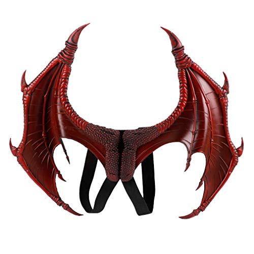 Dragon Wings Bat Wing Halloween Mardi Gras Demon Costume Cosplay Accessory for Adult Kids (Red)