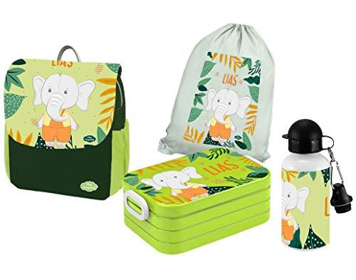 Mein Zwergenland | Personalisertes Kindergartenrucksack-Set | Kinderrucksack mit Name | Lunchbox Maxi mit Name | Turnbeutel aus Baumwolle mit Name | Personalisierte Trinkflasche | Grün | Elefant