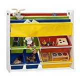 Relaxdays Estantera infantil con cajas, Estantes colgantes, Mueble de almacenaje, Multi-color, 78,5 x 86 x 26,5 cm