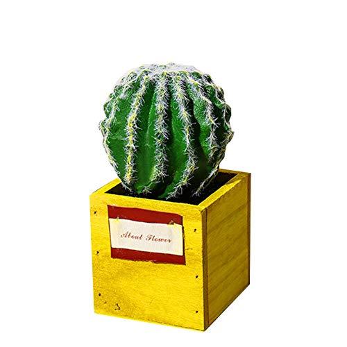 Flikool Suculentas Plantas Artificiales en Maceta Falsas PVC Cactus Bonsai con Maceta de Madera Flores Artificiales para Balcón Jarrón Hogar Oficina Mesa Regalo Decoración - 2