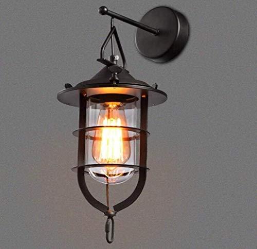 DKee Lámpara de Pared Lámpara De Pared Industrial Retro Loft Lámpara De Pared De Estilo Rústico Cuerpo De Lámpara De Metal con Pantalla De Vidrio para, Negro, A