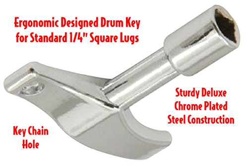 Performance Plus Ergonomic Design Standard Square Lug Chrome Plated Deluxe Drum Tuning Key (DK2)