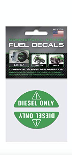 Diesel Only - Green Gas Cap Stickers | Weather Resistant, Ultra Durable, Commercial Grade Decals