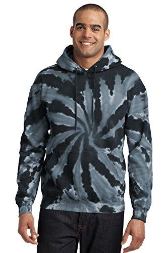 Port & Company Men's Essential Tie Dye Pullover Hooded Sweatshirt L Black