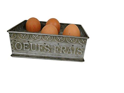 Antic Line 13345 Eierbehälter Eierhalter Eierständer für 6 Eier/Zinc/Länger 18 cm Breite 12 cm Höhe 7 cm