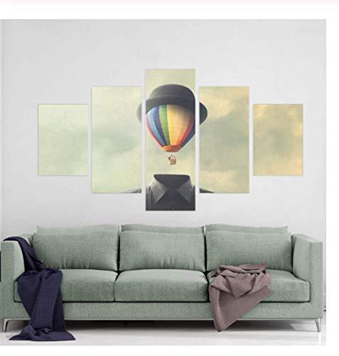Samorou Gedruckte Modulare Bilder Leinwand Abstrakte Malerei Für Wohnzimmer Home Wandkunst Dekor 5 Panels Mystery Man Nordic Poster Holzrahmen