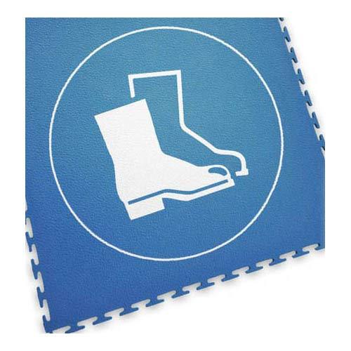 Ecotile 13.237 Bodenmarkierungsfliese mit Logo Sicherheitsschuhe, 500mm x 500mm, Blau/Weiß