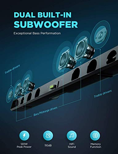 BOMAKER Sound Bar for TV, 120W TV Soundbar with Built-in Subwoofer, 3D Surround Sound System for HD & 4K TV, 6 EQ Modes, Deep Bass, LED OFF Function, Bluetooth 5.0, HDMI, Optical, AUX, USB