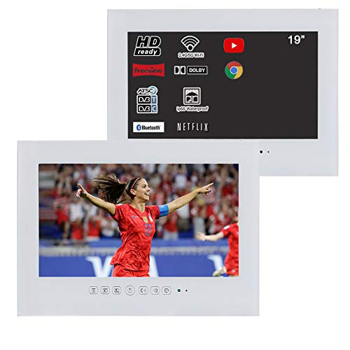 Soulaca 19' Smart Android White ip66 Waterproof Bathroom LED TV with WiFi for Hotel Sauna Room Kitchen TV T190FAWYAA (White)
