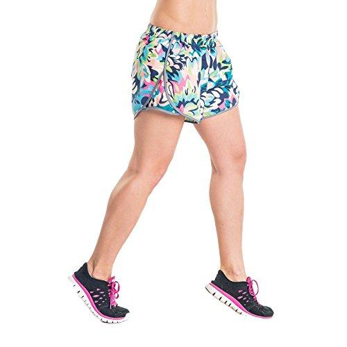 Nessi Short pour Femme DSL Short Pantalon de Course Fitness Pantalon Respirant Green Flowers L 22 Green Flowers