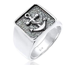 kuzzoi Siegelring Herrenring, massiv 14 mm breit in 925 Sterling Silber, schwarz oxidiert mit Ankersymbol, Ring für Männer in der Ringgröße 60-66, 0607970419