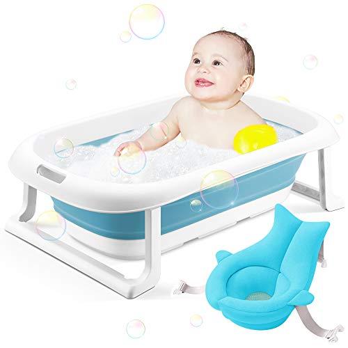 Bañera para bebé, bañera portátil para niños pequeños, antideslizante, plegable, para viaje, para niños y bebés