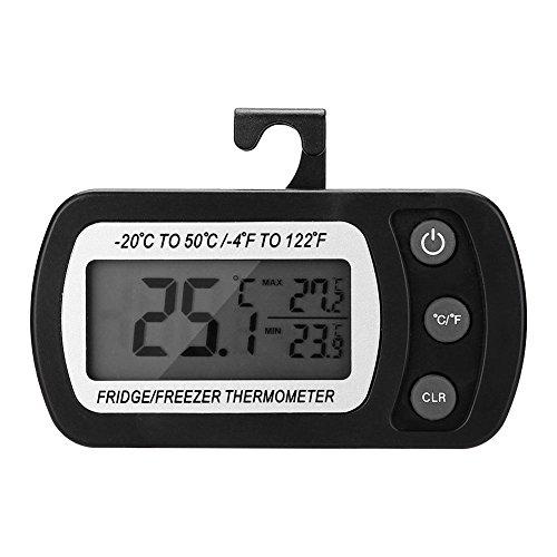 Koelkastthermometer, keuken Grote LCD Koelkast Koelkast Vriezer Digitale thermometer met verstelbare standaard (zwart)