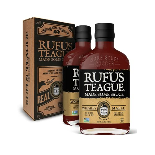 Rufus Teague - Whiskey Maple BBQ Sauce - Premium Barbecue Sauce - 15.25 oz. Bottles - 2 Pack
