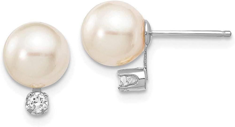 14KW 7-8mm Round White Saltwater Akoya Pearl .10ct.Diamond Earrings style XFW475E