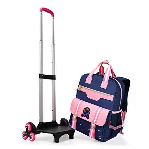 PROTAURI Sac à dos à roulettes pour enfant en nylon imperméable avec 6 roues, bleu et rose