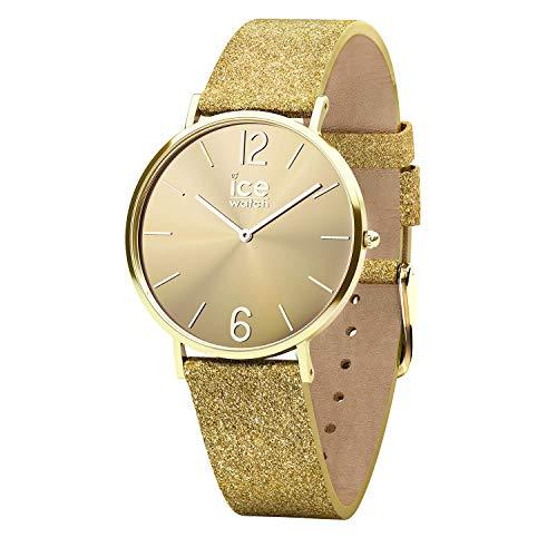 Ice-Watch - CITY sparkling - Glitter Gold - Reloj oro para Mujer con Correa de cuero - 015081 (Extra small)