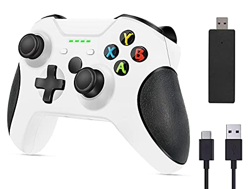 AOFU Wireless Controller for Xbox One, PC Gamepad with 2.4G Wireless Adapter, Built-in Dual Vibration, Compatible with Xbox One/One S/One X/One Elite/PS3 Host/Windows 10 (White)