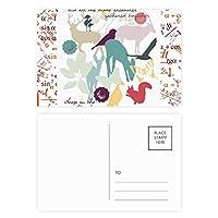 鳥の鹿の花自然環境 公式ポストカードセットサンクスカード郵送側20個