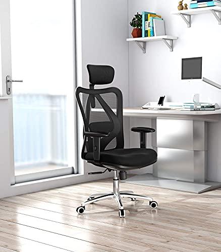 SIHOO Chaise de Bureau Ergonomique, Fauteuil de Bureau avec Support Lombaire, Appuie-tête et accoudoir réglables, Chaise de Bureau Confortable en Maille Respirante, Noir
