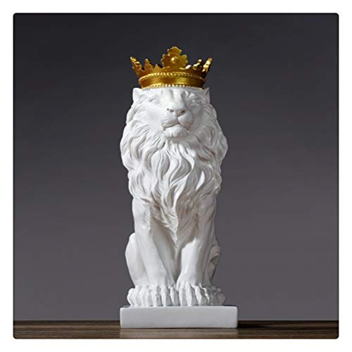 DFSDG Abstract Crown Lion Sculpture Home Office Bar Male Lion Faith Resin Statue Model Crafts Ornaments Animal Origami Art Decor Gift (Color : White)