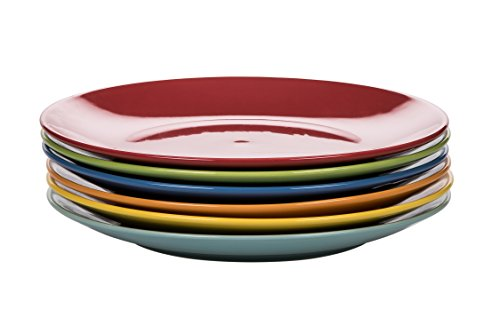 Kaleidos Classico Set mit 6 Esstellern, Steinzeug (Keramik), Gelb/Grün/Sky Blue/Orange/Rot, 27 x 27 x 10 cm