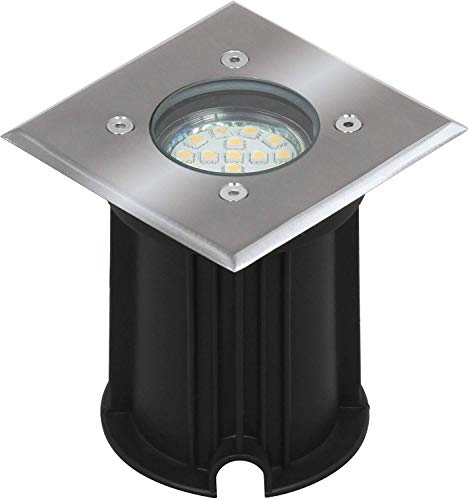 Ranex 5000.459 LED Bodeneinbaustrahler für Außen, eckig, befahrbar, bis zu 800 kg belastbar, einbau Durchmesser ca. 9,2 cm