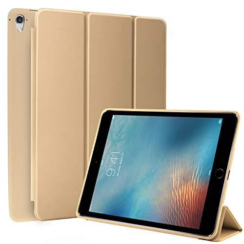N NEWTOP Cover Compatibile per Apple iPad PRO da 9.7' Pollici 2016, Custodia Flip Smart Libro Ori Case Ultra Sottile Leggera Stand Supporto Funzione Wake/Sleep Simil Pelle (Oro)