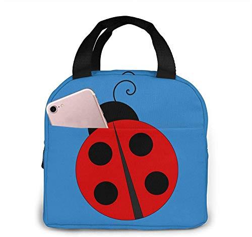 Simpatiche borse per il pranzo in tote coccinella, borsa termica portatile per contenitore per il pranzo con isolamento termico, custodia per bento tote per viaggi / picnic / lavoro