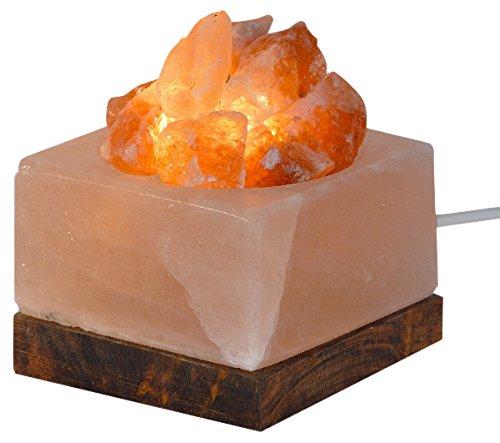 HIMALAYA SALT DREAMS - Beleuchtete Salzkristallschale ECKIG mit Salzkristallen und Holzsockel, inklusive Elektrik und Spezial-Leuchtmittel (E14)