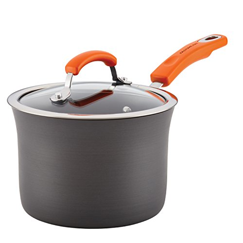 Rachael Ray Brights Hard Anodized Nonstick Sauce Pan/Saucepan with Lid, 3 Quart, Gray with orange handles