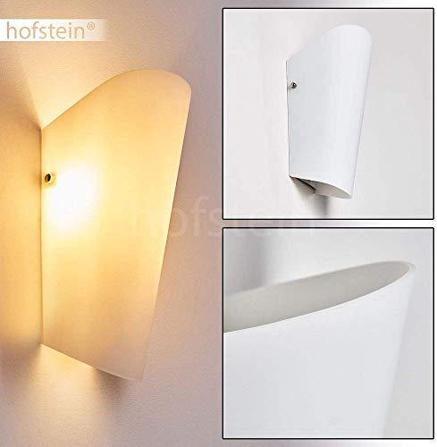 Wandlamp Acerra van glas in wit, moderne wandlamp met lichtspel aan de wand, 1 x E27 max. 60 Watt, binnenwerklamp met op en neergaande werking, geschikt voor LED-verlichtingsarmaturen