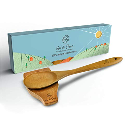 Beautiful Acacia Wood Kitchen Spoon Rest and Spoon - Amazing Gift For Friends And Family - Utensil...