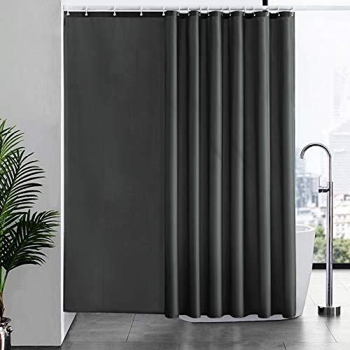 Duschvorhang Überlänge, Badvorhang Anti-schimmel für Dusche & Badewanne, Textile Gardinen aus Stoff Antibakteriell wasserdicht, Extra Breit 244x200cm Dunkelgrau mit 16 Haken.