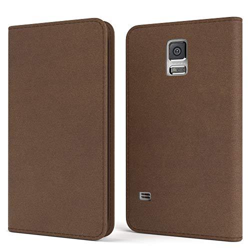 EAZY CASE Tasche für Samsung Galaxy S5/LTE+/Duos/Neo Vintage Schutzhülle mit Standfunktion Klapphülle Bookstyle, Handytasche Handyhülle Flip Cover, Magnetverschluss & Kartenfach, Kunstleder, Braun