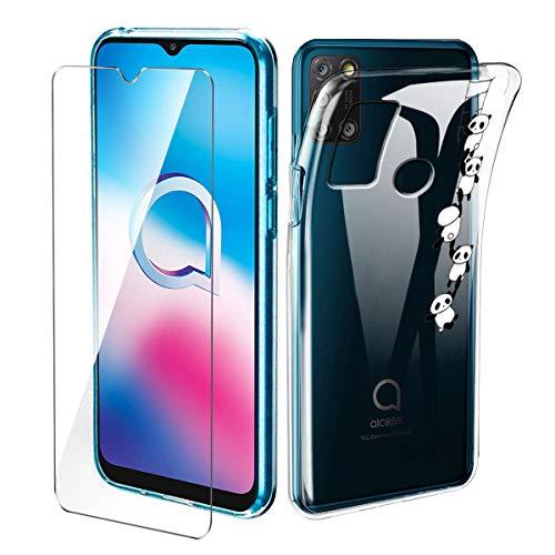 Brands LJSM Hülle für Alcatel 3X 2020 + Panzerglas Bildschirmschutzfolie Schutzfolie - Transparent Weich Silikon Schutzhülle Flexibel TPU Tasche Hülle für Alcatel 3X 2020 (4 Cameras) (6.52