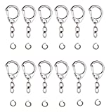 HOPEANT 100 PCS Metal Keychain Rings Bulk, Key Chain with Chain and Open Jump Ring for Making Your Own Key Rings