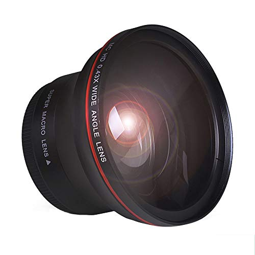 Tectra 58MM 0.43x Professional HD Wide Angle Lens (Macro Portion) for Canon EOS 70D 77D 80D 1100D 700D 650D 600D 550D 300D 100D and Canon Rebel T7 T7i T6i T6s T6 SL2 SL3 DSLR Cameras