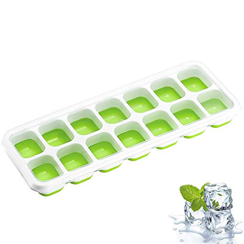 Cubiteras para Hielo Silicona, Bandejas para Hielo, con Tapa sin BPA, Moldes de Cubitos, para Congelarse Alimentos para Bebés,Cola,Cócteles,Whisky - Negro/Verde/Azul (Verde)