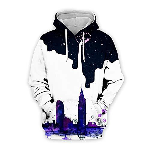 Suéter de suéter de la bebida invertida 3D impresión digital hombres y mujeres sueltos suéter de la manga White City M
