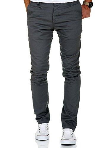 Amaci&Sons Herren Slim Fit Stretch Chino Hose Jeans 7100 Anthrazit W38/L30