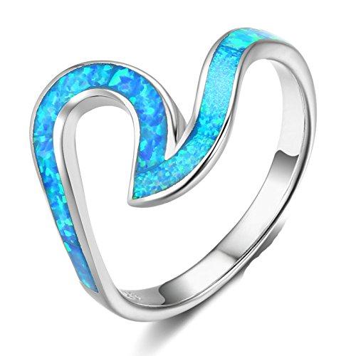 Beydodo Anelli Argento Donna 925, Blu Anello Irregolare Taglia 15 Anello Matrimonio Donna