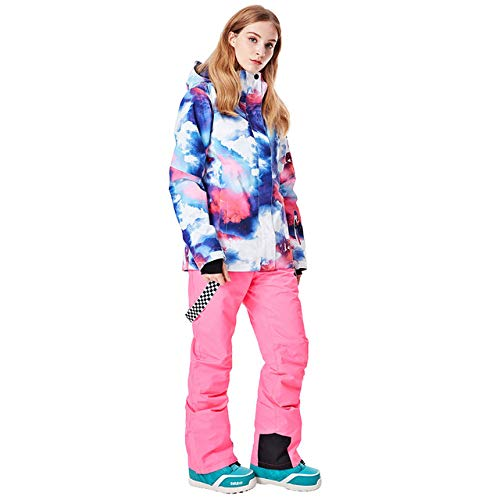 ZYJANO Combinaison de Ski,2019 Hiver Nouvelles Femmes placage Double Planche Ski vêtements Alpinisme vêtements Coupe-Vent Neige Chaude Pantalons de Sport pour Femmes, C2, M