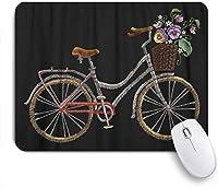 VAMIX マウスパッド 個性的 おしゃれ 柔軟 かわいい ゴム製裏面 ゲーミングマウスパッド PC ノートパソコン オフィス用 デスクマット 滑り止め 耐久性が良い おもしろいパターン (ロマンチックなデザインのサイクリングのための白い春にファッショナブルなバスケットの花が付いている自転車刺繍自転車)