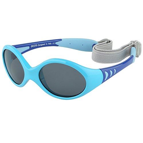 Duco Lunettes de soleil polarisées Enfants Monture flexible en TPEE pour garçons et filles 0 à 5 ans K012 (Bleu)