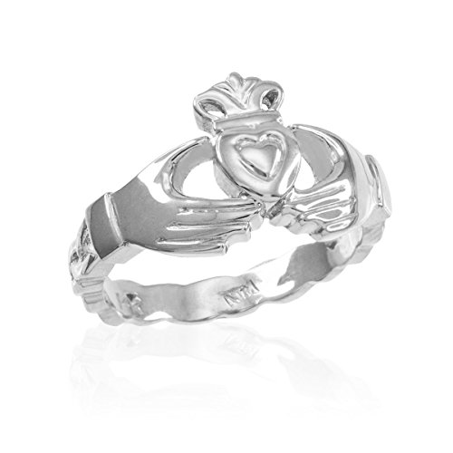 Solid 10k White Gold Celtic Band Claddagh Wedding Engagement Ring, Size 12